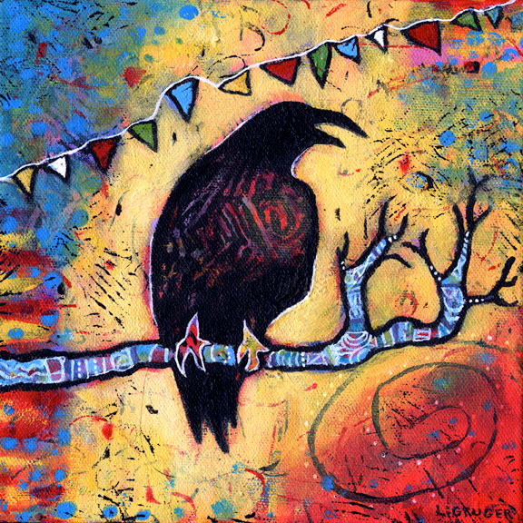 acrylic raven painting by L. Gruger